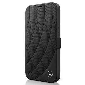 Mercedes Book Bow Line etui skórzane z klapką na iPhone 12 / 12 Pro czarne