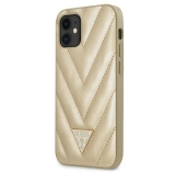 Guess V Quilted - Etui iPhone 12 mini (złoty)-1974908