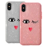 PURO Glitter EYES Shine Cover - Etui Huawei P20 (Silver) Limited edition-266979