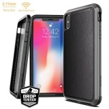 X-Doria Defense Lux - Etui aluminiowe iPhone Xs Max (Drop test 3m) (Black Leather)-272093