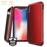 X-Doria Defense Lux - Etui aluminiowe iPhone Xs Max (Drop test 3m) (Red Leather)-272099