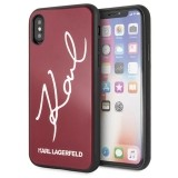 Karl Lagerfeld Double Layers Glitter Signature Case- Etui iPhone XS / X (Red)-648395