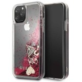 Guess Liquid Glitter Hearts - Etui iPhone 11 Pro (malinowy)-654550