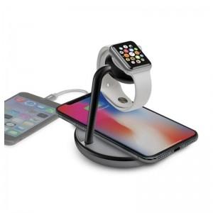Kanex GoPower Watch Stand – Magnetyczna stacja ładująca do Apple Watch i ładowarka Qi do iPhone (czarny/szary)-1341814