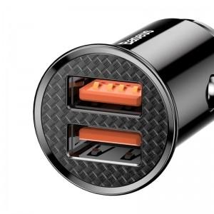 Baseus Circular - Ładowarka samochodowa 2 x USB QC 3.0, 30 W (czarny)-1637931