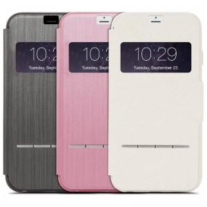 Moshi SenseCover Etui z klapką dotykową iPhone 6s Plus 6 Plus (różowy)
