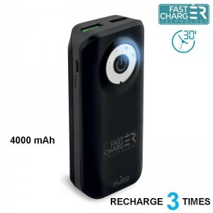 PURO Universal External Fast Charger Battery - Uniwersalny Power Bank 4000 mAh, 2 x USB, 2.4 A (czarny)-257343