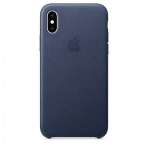 Apple Leather Case - Skórzane etui iPhone Xs (nocny błękit)-269745