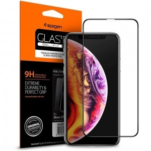 Szkło hartowane Spigen GLAS.tR TC 3D Full Cover Case Friendly iPhone XS/X 5.8 Black-495375