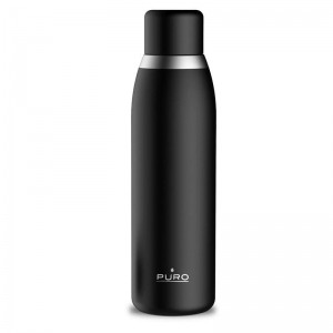PURO Smart Bottle - Butelka termiczna 500ml INOX z inteligentną nakrętka LED (Black)-677702