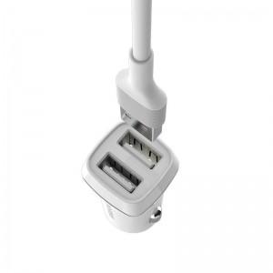 Borofone ładowarka samochodowa 2x USB kabel Lightning w zestawie biały