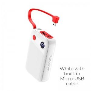 Borofone - power bank 10 000 mAh 37Wh z wyświetlaczem LCD i kablem micro USB, biały-891733