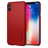 Spigen Thin Fit etui do iPhone X (czerwone)